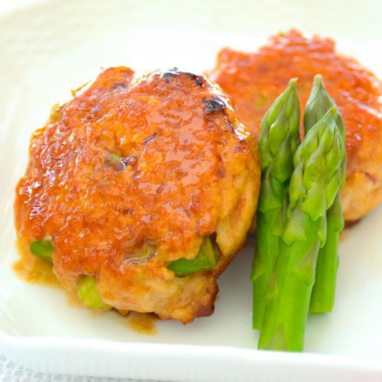 アスパラガスと鶏ひき肉のつくね